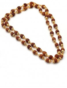 5 Mukhi Rudraksha Mala  Gold Plated 54 Beads
