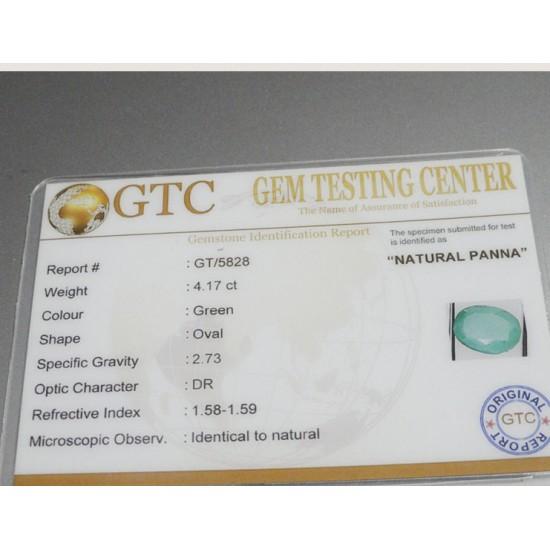 4.17 ct/4.50 ratti Natural Certified Zambian Panna (Emerald)