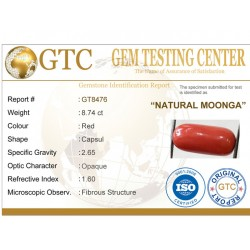 9.60 ratti (8.74 ct) Natural Certified Moonga/Coral