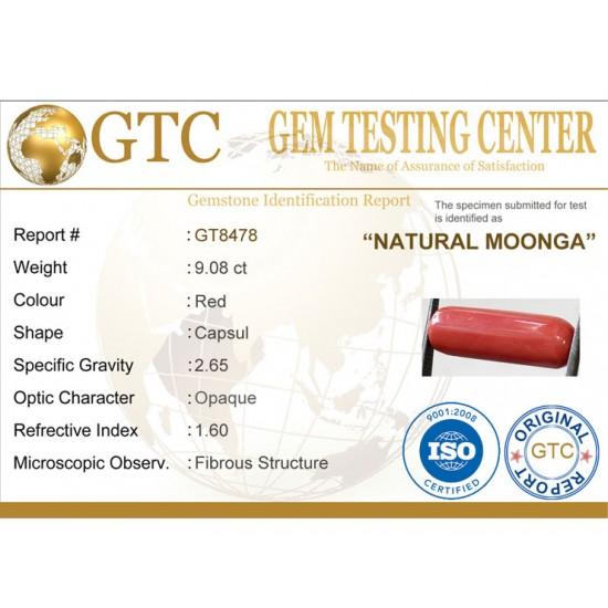 10.08 ratti (9.08 ct) Natural Certified Moonga/Coral